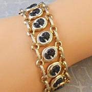 Faux Cameo Line Link Bracelet Goldtone with 15 Tiny Black & White Cameos