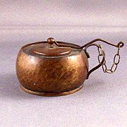 SOLD Old Hammered Metal Alcohol Burner~miniature lamp with attached lid snuffer