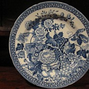 SALE Staffordshire Transferware Plate C.1820 Rogers Wild Floral