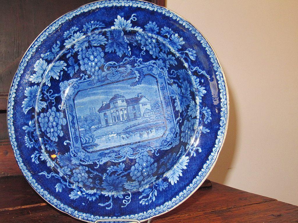 Antique Staffordshire Transferware Dark Blue Soup Plate 'London Views'