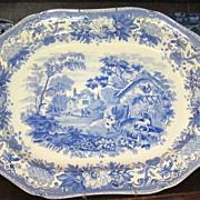 "'Aesops Fables' Staffordshire Transferware Blue Platter  18 1/2"""