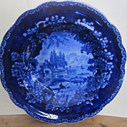 Adams Dark Blue Staffordshire Transferware Soup