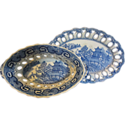 Staffordshire Transferware Spode Basket and Tray