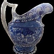 Dark Blue Staffordshire Transferware  Large Pitcher c.1825