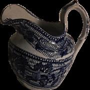 Antique Staffordshire Blue Transferware Small Creamer C. 1830