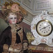 Sale~CHARMING German Miniature Handpainted Porcelain Mantel Clock!