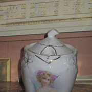 Sale~EXQUISITE Hand Painted Porcelain Jelly or Condiment Jar with Cameo Portrait!
