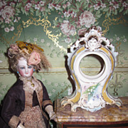 EXQUISITE Miniature Victorian Hand Painted Porcelain Clock or Pocket Watch Display Case!