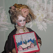 FABULOUS Antique Miniature Needlepoint Dollhouse Picture or Rug