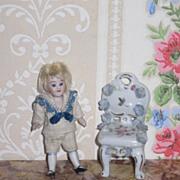 CHARMING HTF Old Miniature German Dresden Porcelain Dollhouse Chair