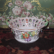 SUPERB Miniature German Dresden Hand Painted Floral Porcelain Bowl