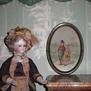 SWEET Miniature Oval Dutch Boy & Girl Lithograph Signed Print
