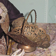 FANCY Rare Victorian Miniature Brass Ormolu Handled Basket for Fashion Dolls