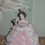RARE Early German Dresden Sitting Lady Figurine with Fan~AS FOUND!