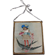 MAGNFICIENT Rare Miniature Victorian Dollhouse Silk & Lithograph Picture with Ormolu Frame!