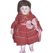 "SALE! Charming All Original Antique 4"" German All Bisque Doll with PINK BOOTS!"