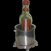 UNIQUE Vintage Miniature Sterling Silver Ice Bucket w/Miniature Glass Bottle for FASHION DOLLS