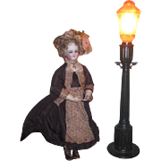 SALE PENDING NOVELTY Rare Art Deco Working Miniature Street Lamp For FASHION DOLL Display!