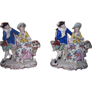 QUALITY Pair of Antique German Porcelain Mantel Figurines!