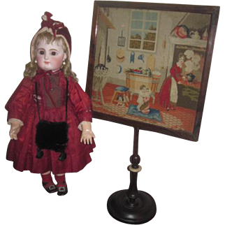 SALE! Spectacular Antique English Miniature Petit Point Lamp Screen Circa 1830's for DOLL DISPLAY!