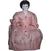 SWEET All Original Antique German China Head Half Doll Pin Cushion!