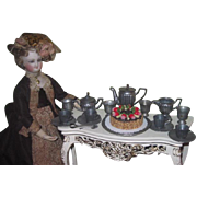 SUPERB Antique 19 Piece Miniature Fashion Doll Toy Pewter Dessert Set for 4!