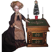 CHARMING Vintage Miniature Florentine Musical Secretary Desk with Holiday Accessories for FASH