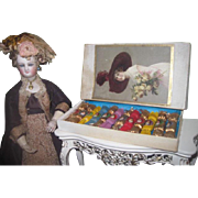 EXTREMELY RARE All Original Boxed Set of Antique Miniature Christmas Victorian Doll Party Crac