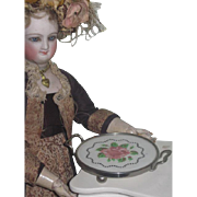 CHARMING Antique Miniature Hand Painted Round Porcelain Serving Tray for FASHION DOLLS!