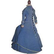 AUTHENTIC Circa 1860's Two Piece Antique French Fashion Doll Promenade Outfit!