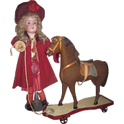 SPECTACULAR All Original Antique German Horse Platform Pull Toy for DOLL DISPLAY!