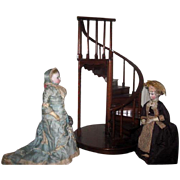 SALE PENDING SUPERB Vintage Miniature Wooden Spiral Staircase for DOLL DISPLAY!