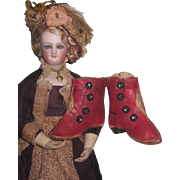 AMAZING Pair of Antique French Fashion Doll Red Leather Boots!