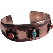 Native American Silver Turquoise Coral Bracelet
