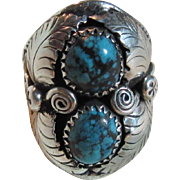 Native American Sterling Turquoise Ring Size 9