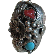 Native American Ring Sterling Silver Turquoise Coral Size 7.75