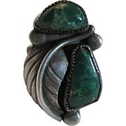 Native American Ring Green Turquoise Sterling Silver Size 4.75