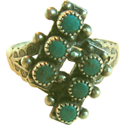 Native American Ring Silver Turquoise Zuni Size 10