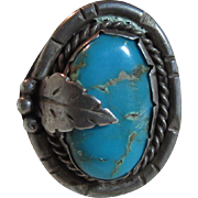 Large Native American Silver Turquoise Ring Size 11