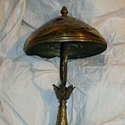 Art Nouveau Brass Lamp & Shade Inset Glass