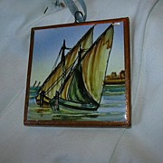 Spanish Art Tile Hand Painted Sailboats Ships Nautical Miniature