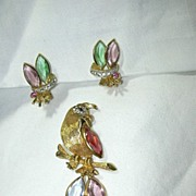 BSK Parrot Brooch Pin Earring Set Costume Jewelry
