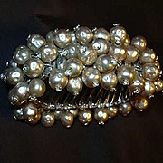 Old Faux Pearl Bracelet From Japan Expansion Design Rhinestone Tips Fine Vintage Costume Jewel