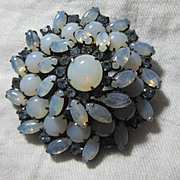 Opalescent Blue Vintage Costume  Brooch Designer Jewelry