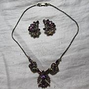 Hollycraft Signed Dated 1953 Demi Parure  Necklace Earring Set Purple Rhinestones Fine Vintage
