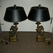 Pair Heavy Brass Elegant Lion Statue Lamps