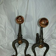SOLD English Arts & Crafts Andirons  Fire Dogs