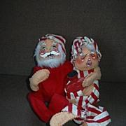 Santa & Mrs Claus Annalee 1970 Dolls