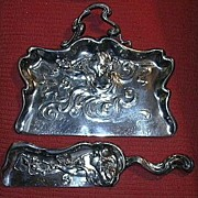 Art Nouveau Silverplate 2pc Crumber Set Lady & Flowers Fine Dining Silver