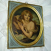 Pair Old Borghese Art Chalkware Plaques Girls Lamb & Bird